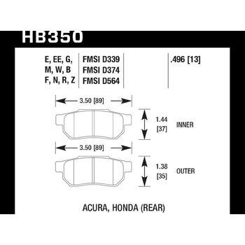 Колодки тормозные HB350N.496 HAWK HP Plus