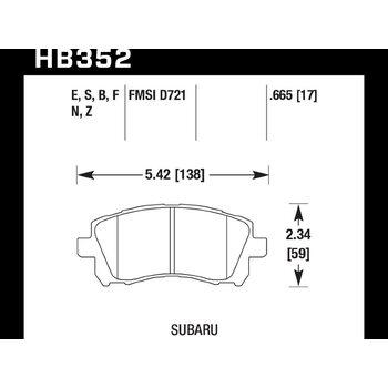 Колодки тормозные HB352N.665 HAWK HP+ передние SUBARU Impreza, Legacy, Forester, Outback