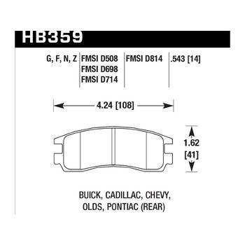 Колодки тормозные HB359F.543 HAWK HPS