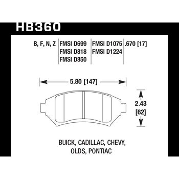 Колодки тормозные HB360B.670 HAWK HPS 5.0; 17mm