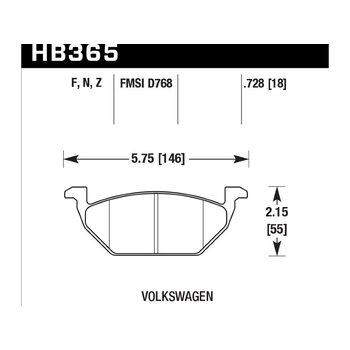 Колодки тормозные HB365N.728 HAWK HP+ передние AUDI / VW