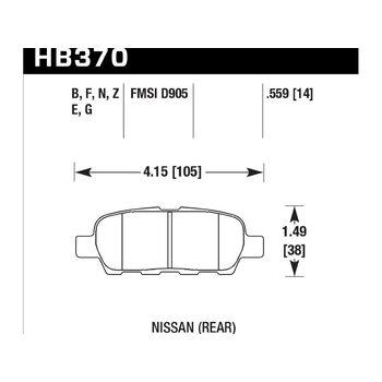 Колодки тормозные HB370Z.559 HAWK PC задние INFINITI FX / G / M ; Nissan 350Z