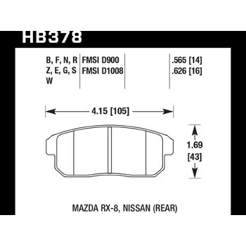Колодки тормозные HB378F.626 HAWK HPS