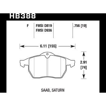Колодки тормозные HB388F.756 HAWK HPS передние OPEL Vectra (B) / SAAB 9-3, 9-5