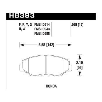 Колодки тормозные HB393F.665 HAWK HPS передние HONDA Accord, CR-V, Pilot