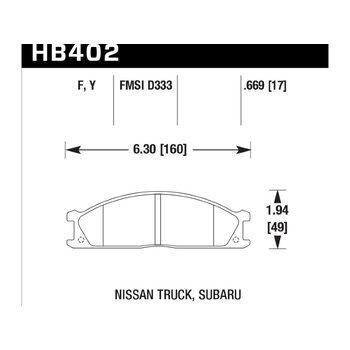 Колодки тормозные HB402F.669 HAWK HPS