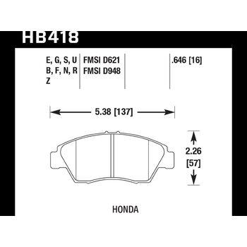 Колодки тормозные HB418N.646 HAWK HP Plus