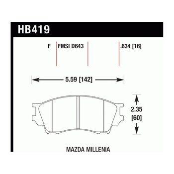 Колодки тормозные HB419F.634 HAWK HPS; 16mm