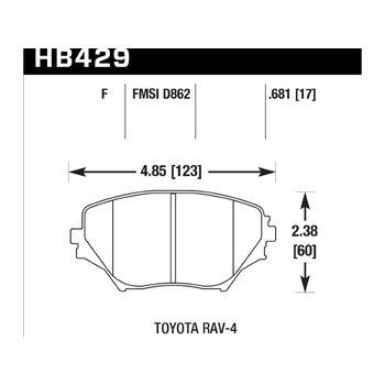 Колодки тормозные HB429F.681 HAWK HPS передние TOYOTA RAV4