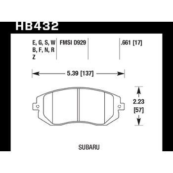 Колодки тормозные HB432B.661 HAWK Street 5.0 передние Subaru Forester, Impreza, Legacy