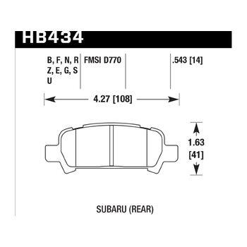 Колодки тормозные HB434N.543 HAWK HP+ задние Subaru Forester, Impreza, Legacy