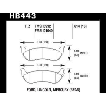 Колодки тормозные HB443F.614 HAWK HPS