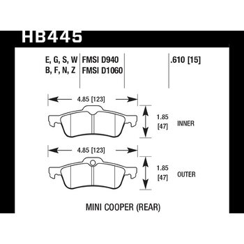 Колодки тормозные HB445F.610 HAWK HPS задние MINI COOPER I