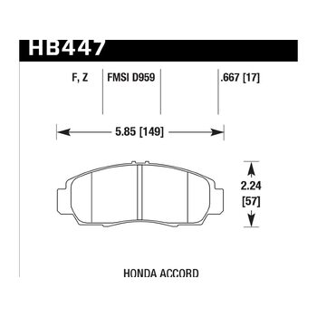 Колодки тормозные HB447Z.667 HAWK Perf. Ceramic