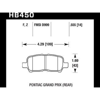Колодки тормозные HB450F.555 HAWK HPS