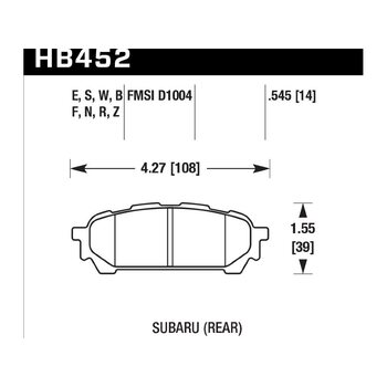 Колодки тормозные HB452Z.545 HAWK PC задние Subaru Forester, Impreza, Legacy