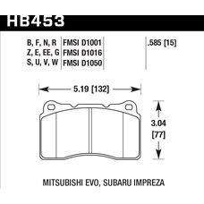 Колодки тормозные HB453F.585 HAWK HPS передние Lancer Evo V-X; SUBARU WRX STI; MEGAN RS; TESLA S, X