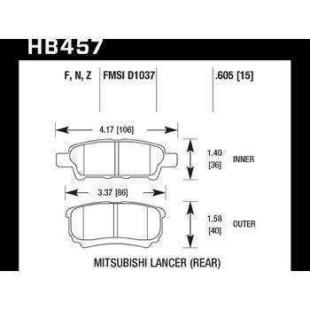 Колодки тормозные HB457Z.605 HAWK PC; 16mm