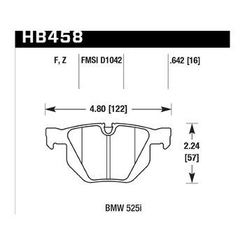 Колодки тормозные HB458F.642 HAWK HPS задние BMW 5 (E60,E61), 6 (E63,64), X5 (E70), X6 (E71)