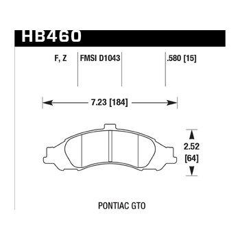 Колодки тормозные HB460F.580 HAWK HPS