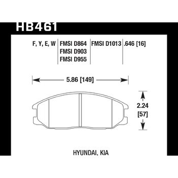 Колодки тормозные HB461F.646 HAWK HPS передние HYUNDAI Santa Fe / KIA Sorento
