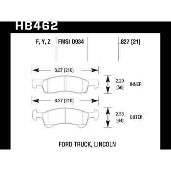 Колодки тормозные HB462F.827 HAWK HPS