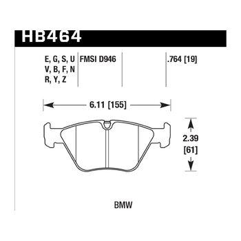 Колодки тормозные HB464Y.764 HAWK LTS; 20mm