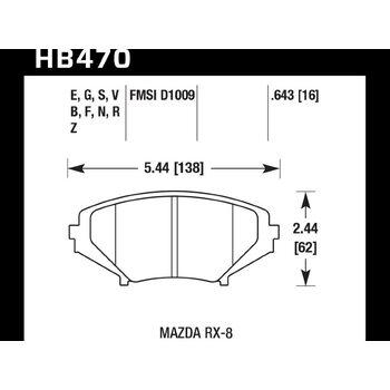 Колодки тормозные HB470B.643 HAWK Street 5.0 Mazda RX-8