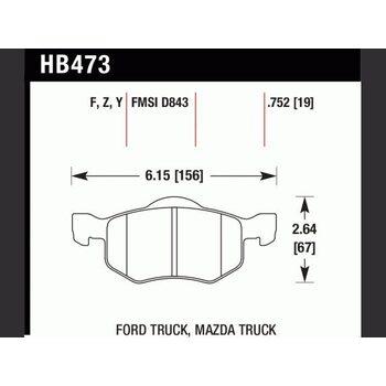 Колодки тормозные HB473F.752 HAWK HPS