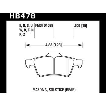 Колодки тормозные HB478N.605 HAWK HP Plus