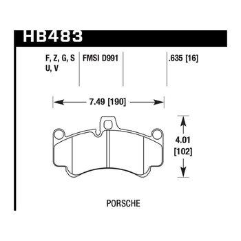 Колодки тормозные HB483Z.635 HAWK PC; 16mm
