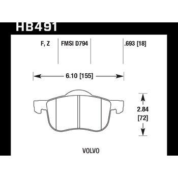 Колодки тормозные HB491Z.693 HAWK PC передние Volvo