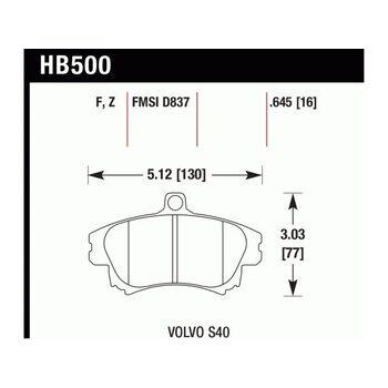 Колодки тормозные HB500Z.645 HAWK PC; 17mm