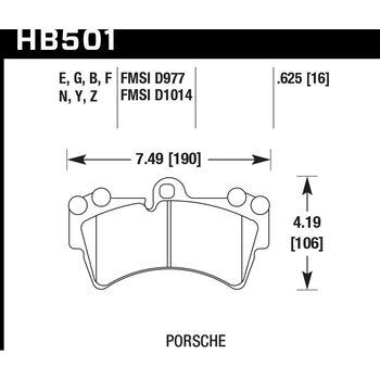 Колодки тормозные HB501F.625 HAWK HPS передние PORSCHE Cayenne (955) / Audi Q7 / VW Touareg
