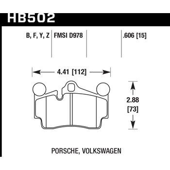 Колодки тормозные HB502F.606 HAWK HPS задние PORSCHE Cayenne (955) / Audi Q7 / VW Touareg