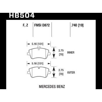 Колодки тормозные HB504F.740 HAWK HPS