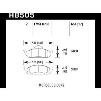 Колодки тормозные HB505Z.654 HAWK PC передние MERCEDES ML W163