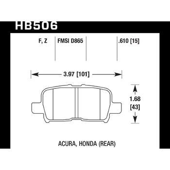 Колодки тормозные HB506F.610 HAWK HPS задние HONDA Accord, CR-V, Pilot