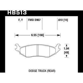 Колодки тормозные HB513F.610 HAWK HPS задн. DODGE RAM 1500, DURANGO