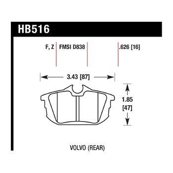 Колодки тормозные HB516Z.626 HAWK PC; 16mm