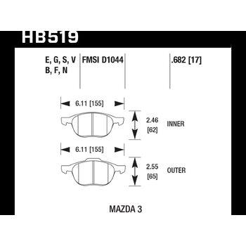 Колодки тормозные HB519B.682 HAWK Street 5.0 передние FORD FOCUS 2, 3/ MAZDA 3, 5