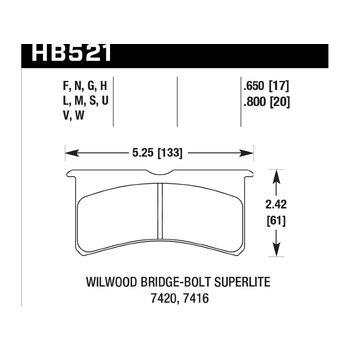 Колодки тормозные HB521N.800 HAWK HP Plus Wilwood 6 порш. 4 порш. 20 mm