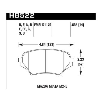 Колодки тормозные HB522F.565 HAWK HPS