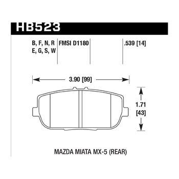 Колодки тормозные HB523N.565 HAWK HP+ задние MAZDA MX-5