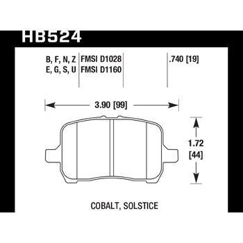 Колодки тормозные HB524N.740 HAWK HP Plus