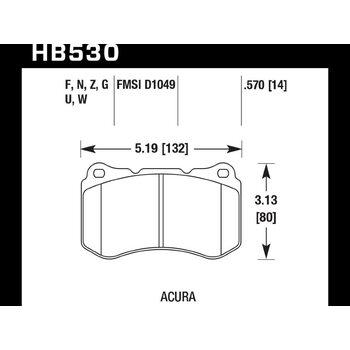 Колодки тормозные HB530N.570 HAWK HP Plus