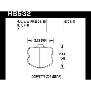 Колодки тормозные HB532N.570 HAWK HP Plus