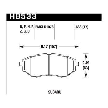 Колодки тормозные HB533B.668 HAWK Street 5.0 передние SUBARU Legacy / Outback / Tribeca