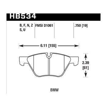 Колодки тормозные HB534Z.750 HAWK Perf. Ceramic передние BMW 120, 125, 130, 318, 320, 325, 330, 525