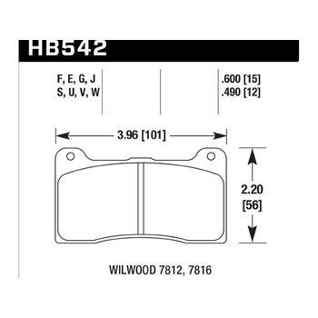 Колодки тормозные HB542F.490 HAWK HPs; 13mm